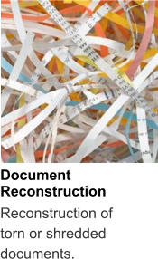 Document Reconstruction Reconstruction of torn or shredded documents.